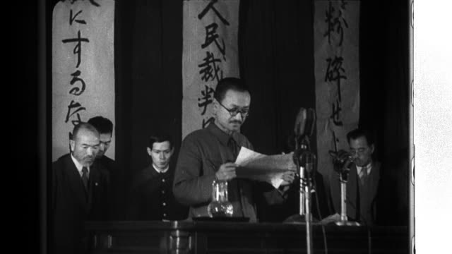 Leader of the Japanese Communist Party Kyuichi Tokuda appeals for the democratization of Japan