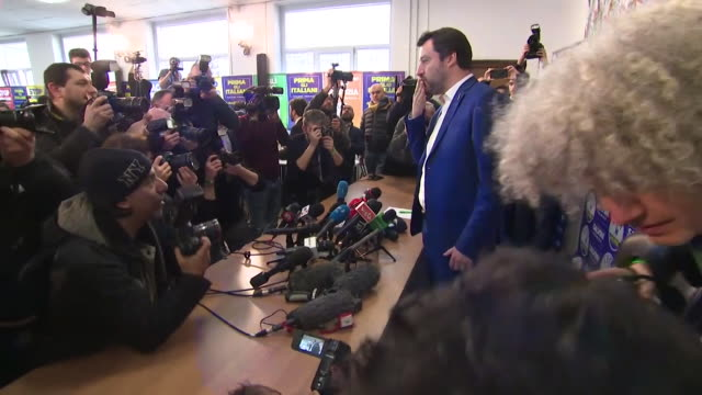 Leader of the Lega Nord party Matteo Salvini holding a press conference after the Italian general election