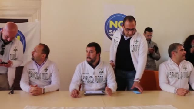 leader of the lega nord political party matteo salvini in l'aquila on april 11 2016 - political party stock videos & royalty-free footage