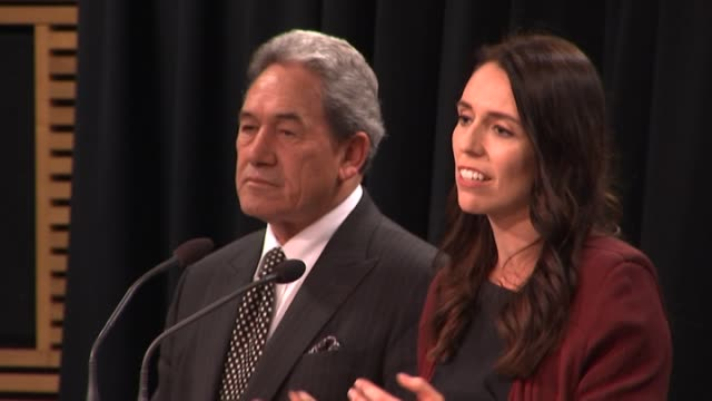 leader of the nz first party winston peters speaks at a press conference backing jacinda ardern as prime minister at parliament in wellington. new... - prime minister stock videos & royalty-free footage