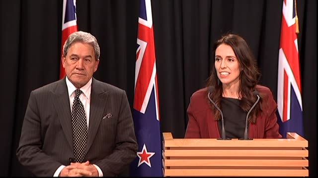 leader of the nz first party winston peters speaks at a press conference backing jacinda ardern as prime minister at parliament in wellington. new... - prime minister stock-videos und b-roll-filmmaterial