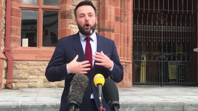 leader of the sdlp colum eastwood, speaking during a press conference outside the guildhall in derry city reflects on his friend and former leader... - architect stock videos & royalty-free footage