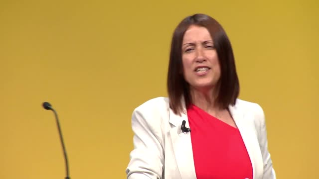leader of the welsh liberal democrats jane dodds addresses the liberal democrats party conference in bournemouth - british liberal democratic party stock videos & royalty-free footage