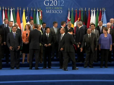 g20 leaders gather for a family photo argentina cristina fernández de kirchner president australia julia gillard prime minister brazil dilma rousseff... - united states and (politics or government) stock videos & royalty-free footage