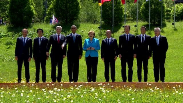 g7 leaders including german chancellor angela merkek french president francois hollande uk pm david cameron japanese pm shinzo abe itallian pm matteo... - southern european stock videos & royalty-free footage