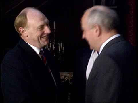 London USSR Embassy Soviet Pres Mikhail Gorbachev PAN RL to Neil Kinnock MP and shakes ZOOM IN CMS SIDE Gorbachev and Kinnock PULL OUT and shakes...
