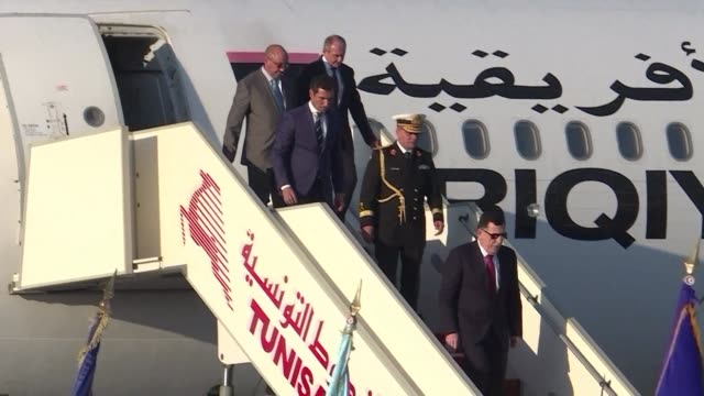 leaders of lebanon yemen kuwait and jordan arrive at tunis carthage international airport to participate in the arab league summit - carthage tunisia stock videos & royalty-free footage