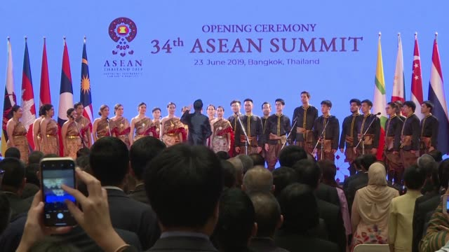 leaders of the 10 member association of southeast asian nations meet in bangkok for the group's annual summit - association of southeast asian nations stock videos & royalty-free footage