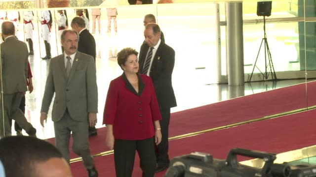 stockvideo's en b-roll-footage met leaders of the brics group of emerging powers hold a summit wednesday with south american presidents bringing together nations seeking alternatives... - overtuiging