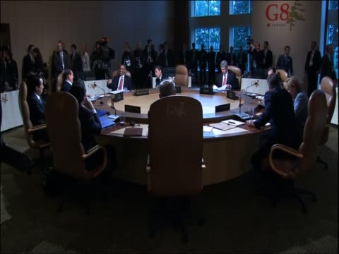 leaders of the g20 pose sitting around table ahead of summit talks - g20 leaders' summit stock videos & royalty-free footage