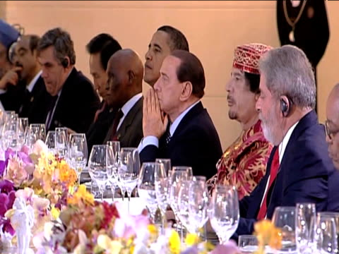 leaders of the g8 summit sit around large table as talks commence italy 10 july 2009 - g8 summit stock videos & royalty-free footage