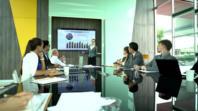 leadership businesswomen presenting in the meeting.multi-ethnic group of people attentive businesspeople in meeting at the office. - finanza video stock e b–roll
