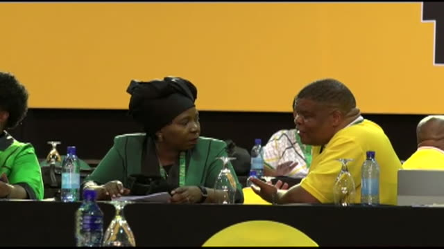 ANC leadership contender Nkosazana DlaminiZuma talking to a party member during a meeting