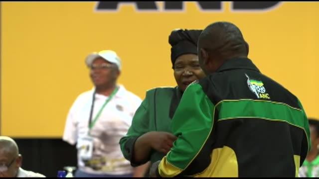 ANC leadership contenders Cyril Ramaphosa and Nkosazana DlaminiZuma speaking to each other
