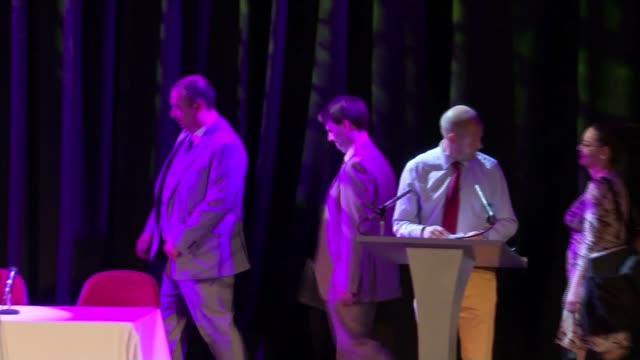 diane james declines to take part in hustings with rivals t26081607 / tx essex romford leadership candidates onto stage at hustings event end lib - diane james politik stock-videos und b-roll-filmmaterial
