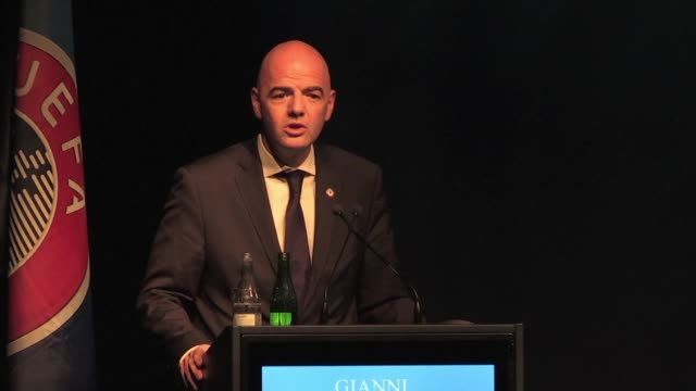vídeos de stock, filmes e b-roll de leading fifa presidential contender gianni infantino says its time to bring football back to fifa and fifa back to football - gianni infantino