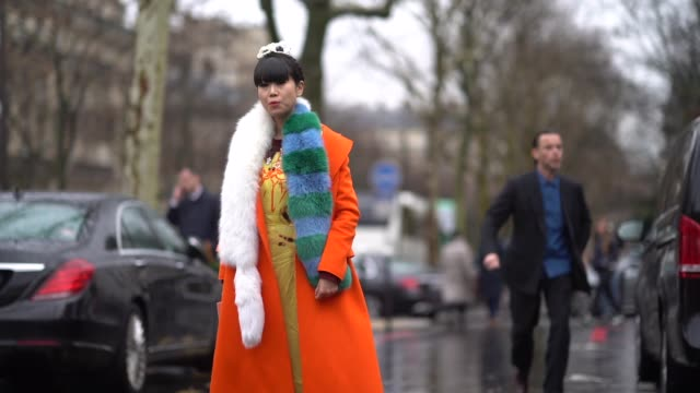 Leaf Greener wears a blue and green striped scarf and orange coat a yellow dress during Paris Fashion Week Womenswear Fall/Winter 2018/2019 on March...