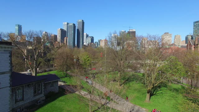 leafless trees and green grass can be seen in the area which belongs to the university of toronto the modern architecture buildings of the downtown... - toronto stock videos & royalty-free footage