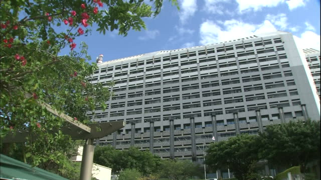 Leafy trees rustle outside the Okinawa Prefectural Government Office in Japan.