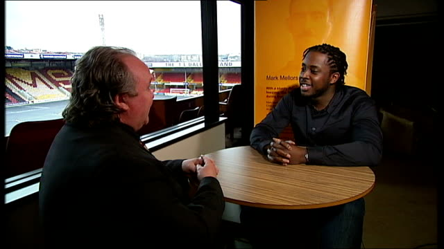 Bradford City v Swansea City Vox pop Bradford City AFC crest on wall INT View from tunnel Mark Lawn setup shots with reporter / interview SOT York...