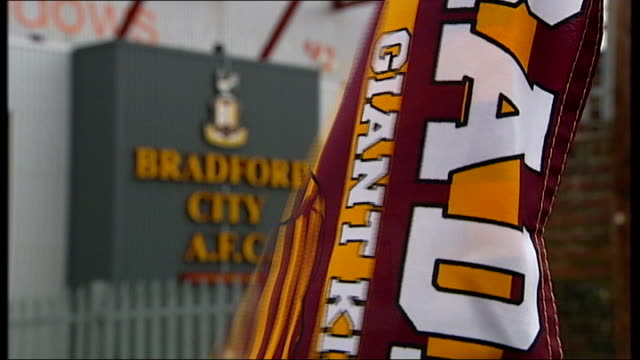 bradford city v swansea city west yorkshire bradford general view of valley parade pitch and stands bradford city flag flying in front of stadium... - neckwear stock videos and b-roll footage