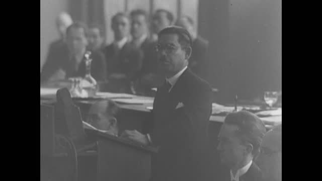 league of nations condemning japan as an agressor nation/ japanese delegate yosuke matsuoka speaking at the assembly - manchuria region stock videos & royalty-free footage