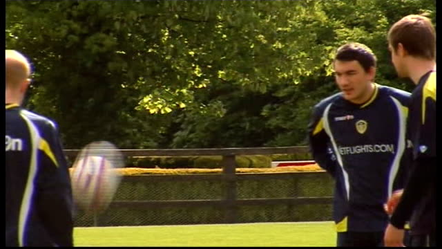 leeds united training session; england: west yorkshire: leeds: ext general views of leeds united squad training including: lucciano becchio ben... - torschuss stock-videos und b-roll-filmmaterial