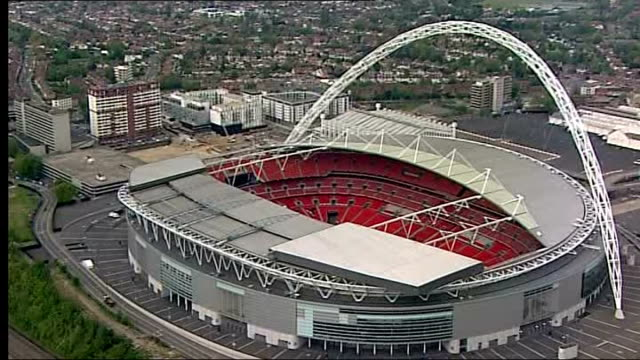 league one play-off final preview; england: london: ext air view / aerial wembley stadium - wembley stadium stock videos & royalty-free footage