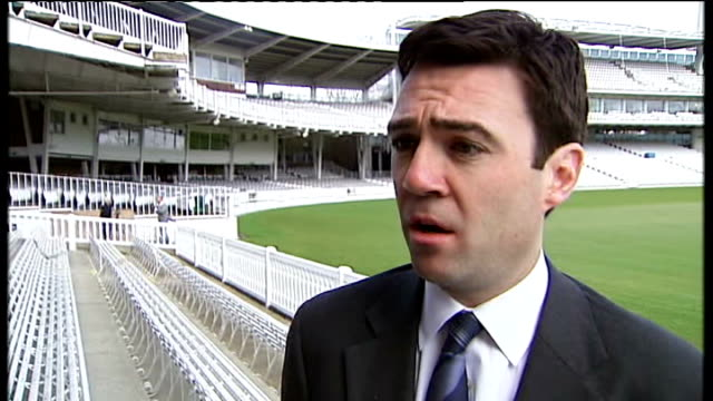 south africa to host 2009 season england london lord's cricket ground general views of lord's andy burnham mp interview sot we are natural... - channel 4 news stock videos & royalty-free footage