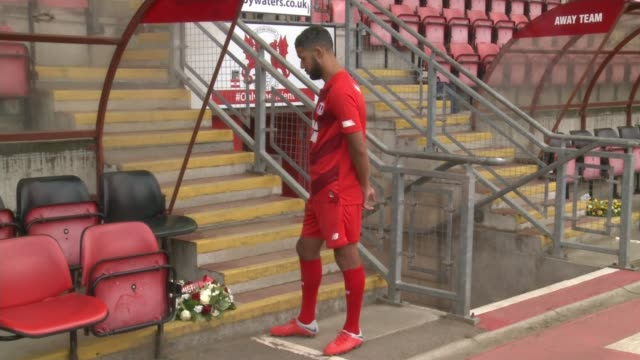 leyton orient prepare for new season following death of manager justin edinburgh england london leyton brisbane road ext jobi mcanuff standing near... - leyton orient f.c stock videos and b-roll footage