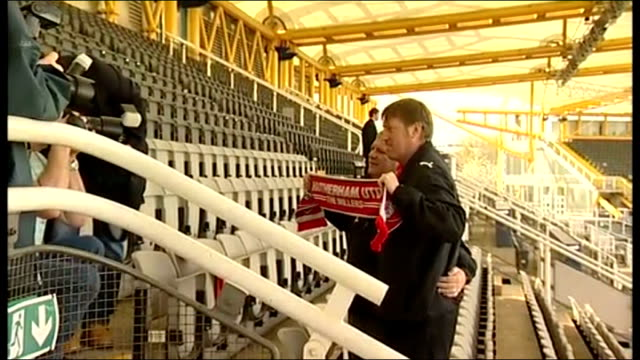 steve evans leaves crawley for rotherham england south yorkshire sheffield don valley stadium ext various of steve evans posing for photocall with... - south yorkshire stock videos and b-roll footage