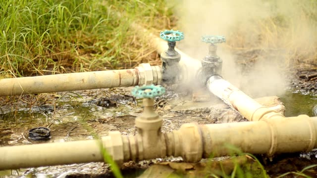 leakage tube in grass