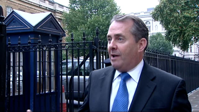 leaked letter from secretary of defence about spending cuts in his department liam fox mp arriving at parliament and interview sot appalling that... - liam fox politician stock videos and b-roll footage