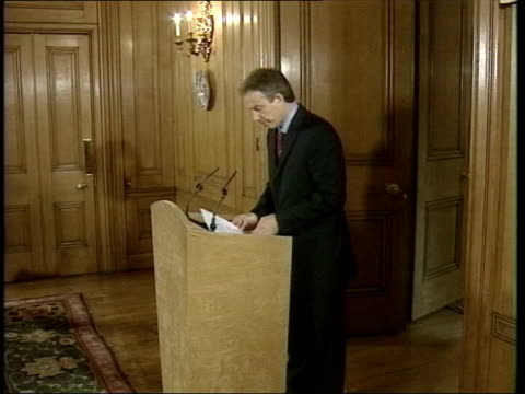 no weapons of mass destruction found yet lib england london 10 downing street tony blair mp to podium for press conference side press tony blair mp... - weapons of mass destruction stock videos & royalty-free footage
