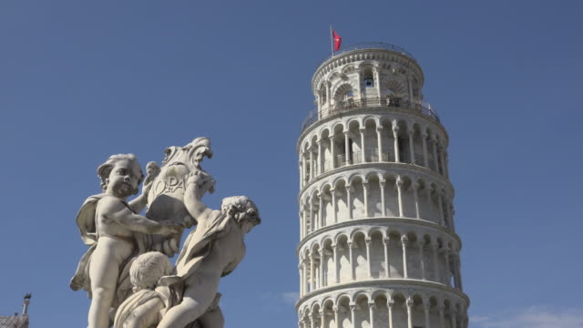 Leaning tower of Pisa and sculpture