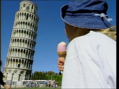 Leaning Tower of Pisa saved from collapse LA GV Leaning tower as tourists past in f/g Professor John Burland interview SOT that's where it was in...