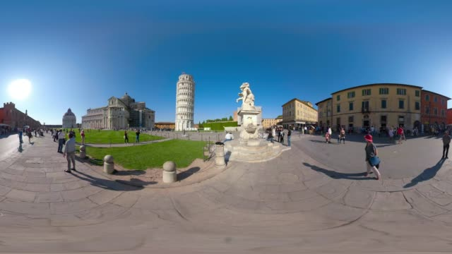 360 vr / leaning tower of pisa - 360 video stock videos & royalty-free footage