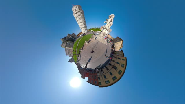 leaning tower of pisa with little planet effect - besichtigung stock-videos und b-roll-filmmaterial