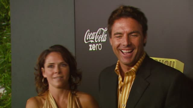 leanza cornett and mark steines at the mark burnett and aol celebrate the launch of gold rush at les deux in los angeles california on september 12... - california gold rush stock videos and b-roll footage