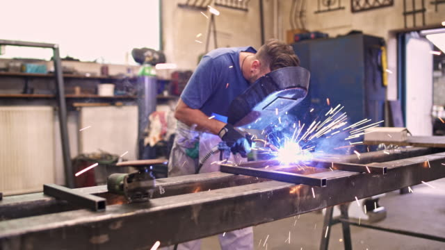 learning to be better welder - manufacturing occupation stock videos & royalty-free footage
