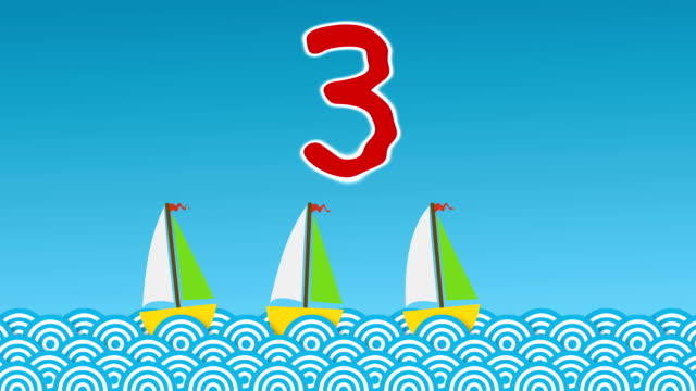learning to count… ten little boats - number 3 stock videos & royalty-free footage