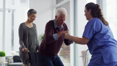 learning to walk again isn't always easy - patient stock videos & royalty-free footage
