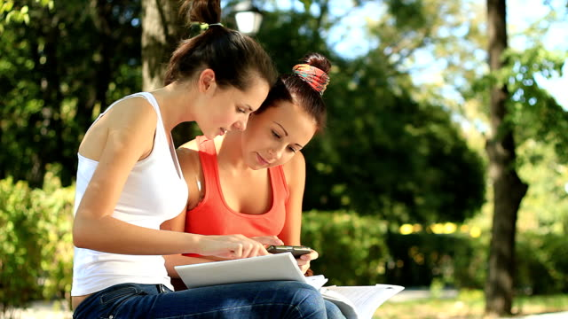 learning together is the best way in studying! - only teenage girls stock videos and b-roll footage