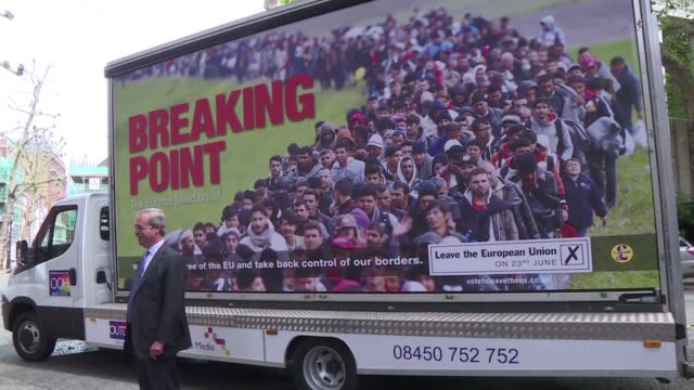vídeos de stock, filmes e b-roll de leave campaigner and ukip party leader nigel farage unveils a new campaign poster in london one week ahead of a crunch referendum that could see... - poster