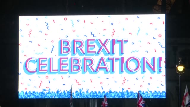 leave supporters come out in london for the big brexit bash celebrating the uk's official exit from the eu - celebration stock videos & royalty-free footage