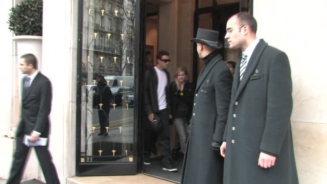 leaves the Four Seasons George V Hotel in Paris Avril Lavigne on February 09 2011 in Paris France