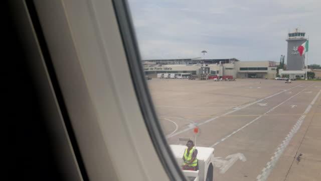 Leaving airplane from International Puerto Vallarta Airport