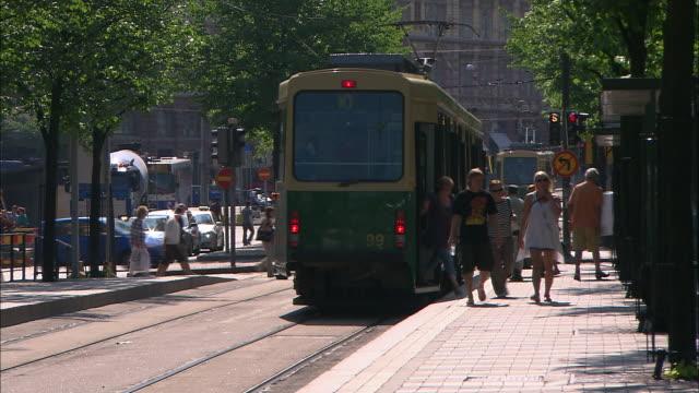 Leaving the Tram, Helsinki, Finland