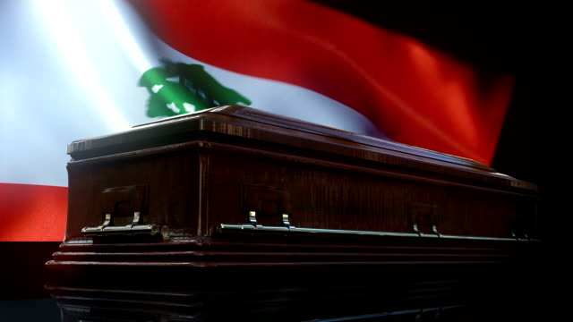lebanese flag behind coffin - lebanese ethnicity stock videos and b-roll footage