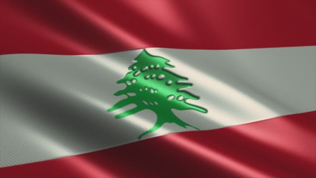 lebanese flag  high detail - looping stock video - lebanon country stock videos & royalty-free footage